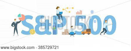 S And P 500, Stock Market Index. Concept With Keyword, People And Icons. Flat Vector Illustration. I