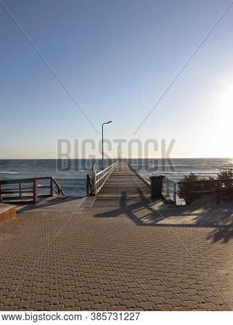 Vacant Scenery Towards The Seaford Beach Jetty. The Jetty Platform Is A Landmark Of The Area. The Je