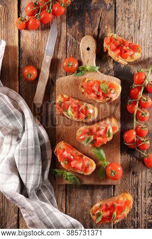 brushettas with tomato and basil