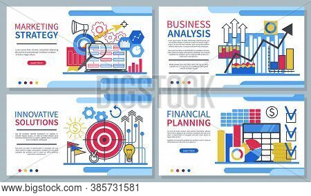 Business Website Designs Set. Landing Pages Templates. Marketing Strategy, Innovative Solutions, Bus