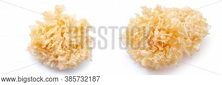 Dried Snow Fungus, Also Known As Snow Ear, White Jelly Mushroom, Silver Wood Ear Fungus Isolated On