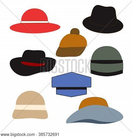 Vector Stock Set Hats. Outline Isolated On White Background Flat Style  Print On Paper, Fabric, Cera