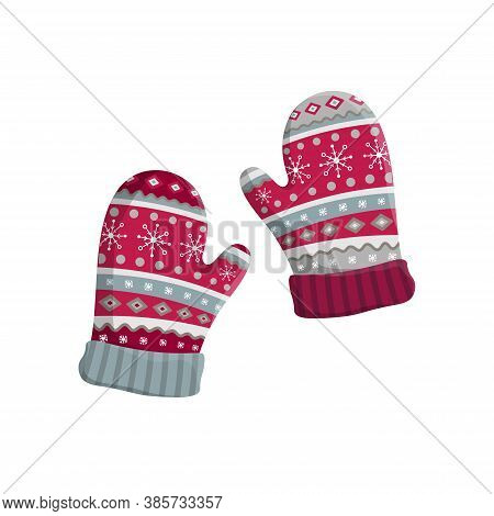 Pair Of Knitted Winter Mittens Isolated On White Background. Vector Illustration. Warm Mitten Icon.