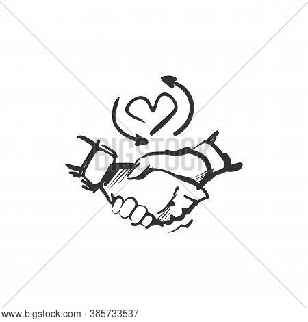 Loyalty Line Icon. Two Hands Shaking. Heart Symbol With Circular Lines. Outline Drawing. Human Devot