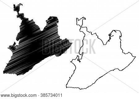 Salvador City (federative Republic Of Brazil, Bahia State) Map Vector Illustration, Scribble Sketch