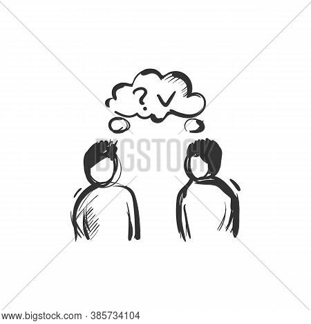 Mutual Understanding Line Icon. Two People Standing Together And Thinking The Same. Outline Drawing.