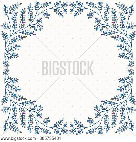 Fun Wild Meadow Grass Floral Frame. Hand Drawn Partially Colored Cobalt Leaves On Polka Dot Backgrou