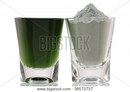 Closeup photo of Chlorophyll Fine Powder and Mixed with Water, to boost immune system