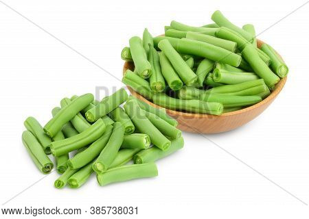 Green Beans In Wooden Bowl Isolated On A White Background With Clipping Path And Full Depth Of Field