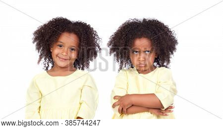 Playful african twins isolated on a white background