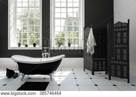 Concept Of Daily Morning Routine And Beauty Procedure Room. Contemporary Interior Design In Modern H