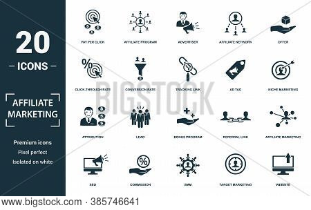 Affiliate Marketing Icon Set. Monochrome Sign Collection With Pay Per Click, Affiliate Program, Adve