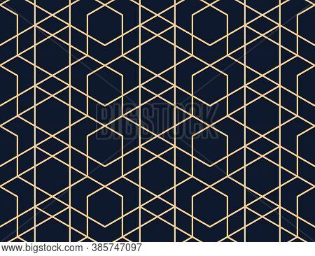 The Geometric Pattern With Lines. Seamless Vector Background. Dark Blue And Gold Texture. Graphic Mo