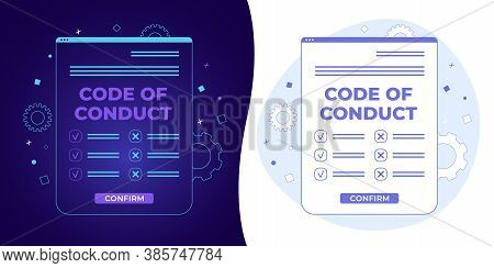 Code Of Conduct Vector Concept With Black And White Background, Dark Ultra Violet Neon Glowing Thin