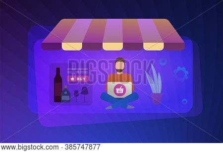 Online Purchase Of Alcohol Flat Vector Concept Illustration. Alcohol E-commerce: Vodka, Whiskey, Win