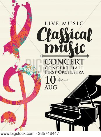 Poster For A Live Classical Music Concert. Vector Flyer, Invitation, Ticket Or Advertising Banner Wi