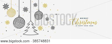 Elegant Merry Christmas White Banner In Line Style Vector Design Illustration