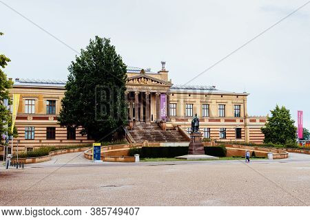 Schwerin, Germany - August 2, 2019: Staatliches Museum Of Schwerin, State Museum Schwerin, A Cloudy