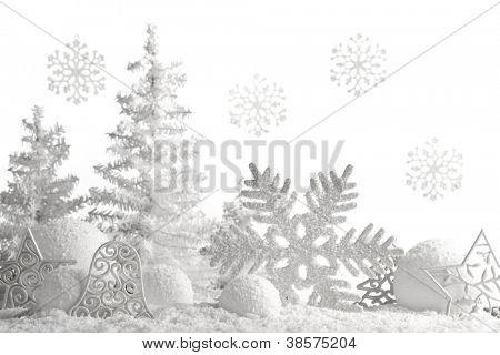 Christmas ornaments on snowflakes.