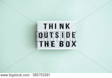 Think Outside The Box Message Inside A Light Box