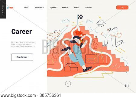 Business Topics - Career, Web Template, Header. Flat Style Modern Outlined Vector Concept Illustrati