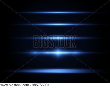 Horizontal Light Rays, Flash Blue Horizontal Lens Flares Pack, Laser Beams, Glow Blue Line On Transp
