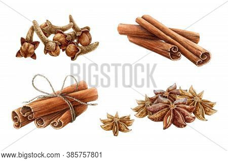 Cinnamon, Star Anise And Clove Watercolor Illustration Set. Hand Drawn Close Up Aromatic Dry Spices