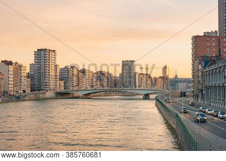 LIEGE, BELGIUM - February 24, 2018: Architectural landscape by the river in Liege, Belgium