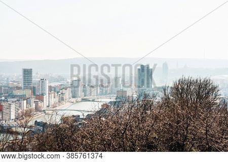 LIEGE, BELGIUM - February 24, 2018: view of Buildings around Liege city, Belgium