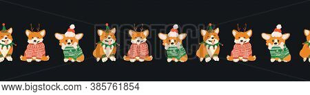 Seamless Border With Cute Christmas Corgi In Ugly Sweaters, Santa Hat And Deers Antlers. Happy Dogs