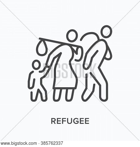 Refugee Flat Line Icon. Vector Outline Illustration Of Displaced People Walking With Luggage, Man Wo