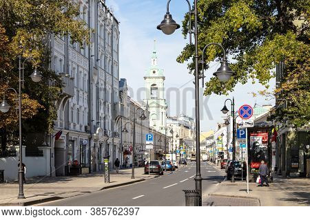 Moscow, Russia - September 6, 2020: View Of Pyatnitskaya Street With Belltower Of Temple Of The Behe