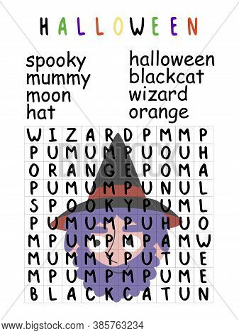 Halloween Word Search Puzzle With Wizard Children Activity Page Stock Vector Illustration. Funny Edu