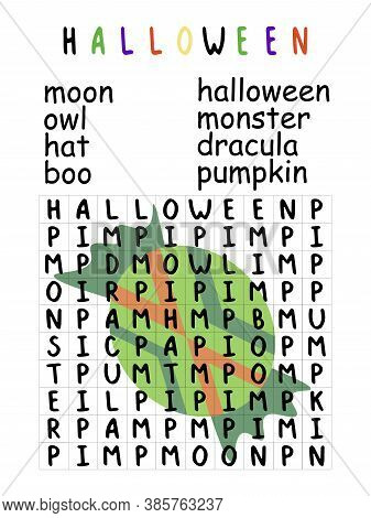 Halloween Word Search Puzzle With Candy Children Activity Page Stock Vector Illustration. Funny Educ