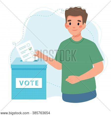 Young Man Putting Vote Into The Ballot Box. Election Concept.