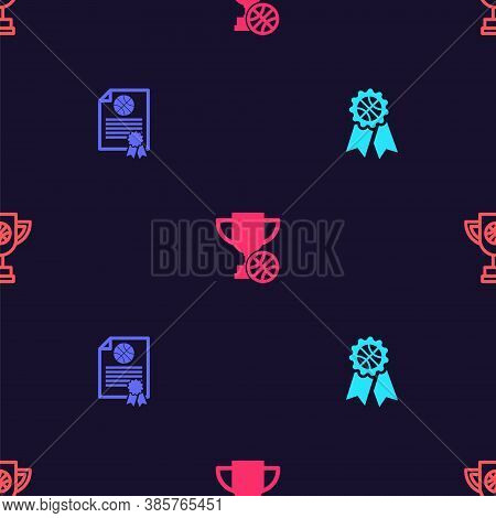 Set Basketball Award, Certificate Basketball, Award Cup With And On Seamless Pattern. Vector