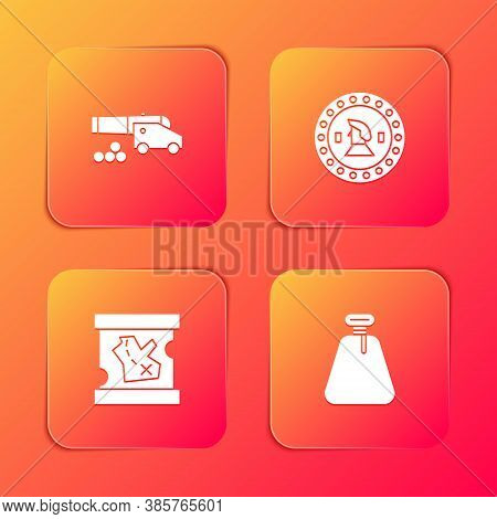 Set Cannon With Cannonballs, Pirate Coin, Treasure Map And Sack Icon. Vector