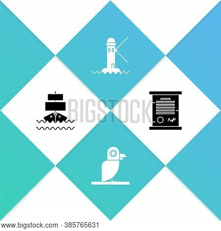 Set Ship, Pirate Parrot, Lighthouse And Decree, Parchment, Scroll Icon. Vector