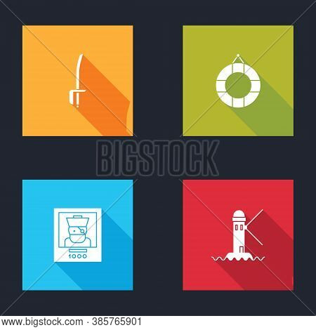 Set Pirate Sword, Lifebuoy, Wanted Poster Pirate And Lighthouse Icon. Vector