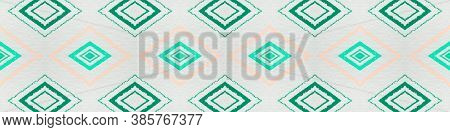 Drawn In Bold Mexican Pattern. Seamless Bohemian Squares. Green Aztec Ornament. Mexican Pattern. Fas