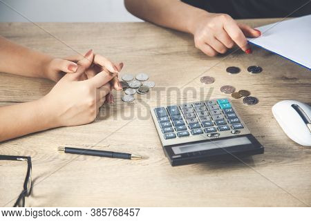 Accountants Calculating Profit  Close Up Shot Of Hands Counting Coins