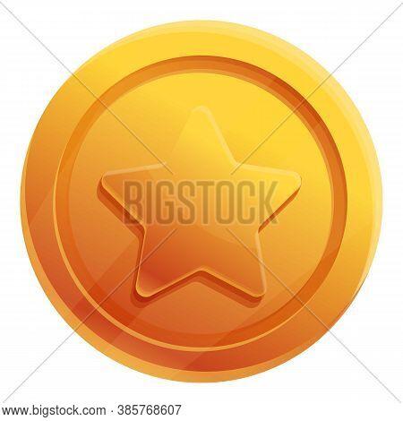 Star Rank Token Icon. Cartoon Of Star Rank Token Vector Icon For Web Design Isolated On White Backgr