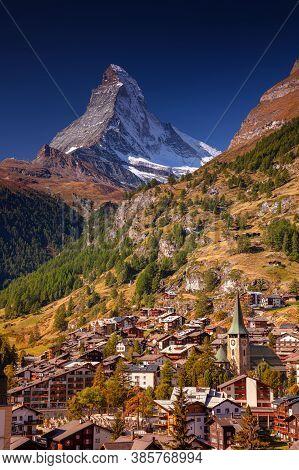 Zermatt. Image Of Iconic Village Of Zermatt, Switzerland With The Matterhorn In The Background Durin