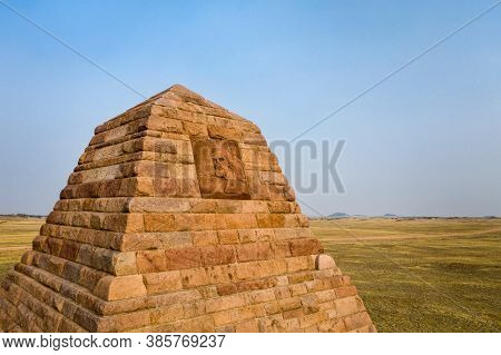 Sherman, WY, USA - September 15, 2020: Ames Monument, a large pyramid at the highest point on the transcontinental railroad completed in 1860. It's dedicated to  Oliver and Oakes Ames brothers.