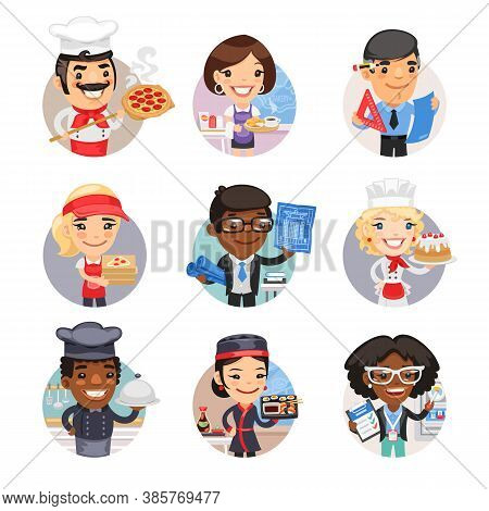 Set Of Avatars With People Of Different Professions. Pizza Chef, Waitress, Engineer, Delivery Girl,