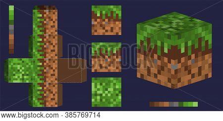 Big Set Papercraft Mini Dirt Block. Papercraft 5 Classic Blocks. Bricks, Grassland And Tnt. Pixel 3d