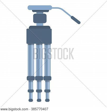 Video Camera Tripod Icon. Cartoon Of Video Camera Tripod Vector Icon For Web Design Isolated On Whit