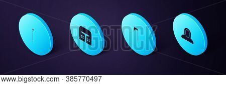 Set Isometric Medieval Hood, Axe, Iron Helmet And Spear Icon. Vector