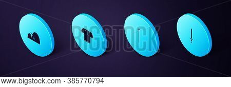 Set Isometric Medieval Sword, Spear, Body Armor And Bale Of Hay And Rake Icon. Vector