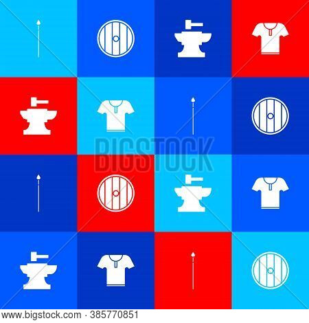 Set Medieval Spear, Round Wooden Shield, Anvil For Blacksmithing Hammer And Body Armor Icon. Vector